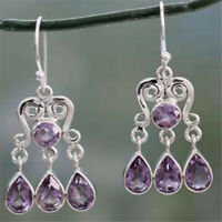 Vintage 925 Silver Women Amethyst Gemstones Engagement Wedding Earrings Jewelry