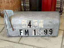 Large Old Farm to Market Country Road Galvanized Metal Mailbox Storage Box