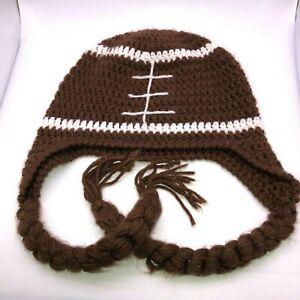 Toddler Crocheted Football Cap Toddler Brown White Handmade by Local Artist