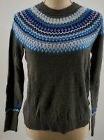 A New Day Dark Gray & Blue Fair Isle Long Sleeve Sweater Women's Size XS