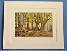 EPPING FOREST HIGH BEECH VINTAGE DOUBLE MOUNTED WATER COLOUR PRINT c1930 10 X 8