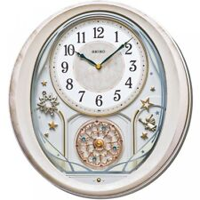 Seiko QXM370P 18 Melodies in Motion Wall Clock With Pink Marble Case