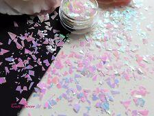 Nail Art White Holographic *viva* Myler Flakes Cut Shatter Pot Spangles Glitters