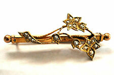 Antique Victorian 9K Solid Gold Floral Brooch/Pin Marked / Signed
