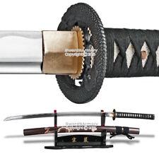 Musha Brand Samurai Sword Katana 1045 Steel Sharp Blade Glossy Brown Dragon Scab
