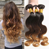 8A Brazilian Virgin Human Hair Weave 3 tones Body Wave 3Bundles/ 150g 1b/4#/27#
