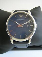 EMPORIO ARMANI MENS WATCH AR1731 STAINLESS STEEL BLUE DIAL LEATHER GENUINE