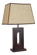 WABI, Table Lamp, Dark Wood Timber, Rattan Shade, E27, ON SALE!