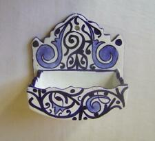Vintage Fes Pottery Blue & White Faience Soap Dish: for wall mounting.