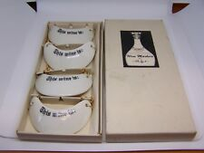 Set Of 4 Vintage Porcelain Wine Marker's Stafford Co This Wine is: And Box