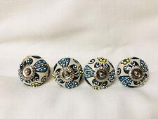"Vintage Ceramic Drawer Pulls/Knobs Set of 4 Floral Blue Green Yellow White 1.5"""