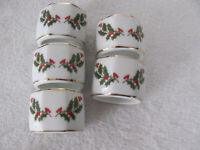 Christmas Holly Fine Porcelain-Japan-Holly,Berries & Gold Trim - 5 Napkin Rings