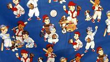 "2004 Alexander Henry Little League 100% Cotton Fabric Print 2 Yards X 44"", Mint"