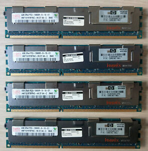 16 GB KIT (4x 4GB) DDR3 Hynix HMT151R7BFR4C-H9 2Rx4- PC3-10600R HP PN 500203-061