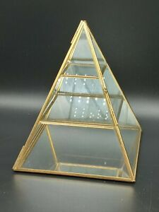 """Vintage Brass Glass Pyramid Display Cabinet Curio Table Top 7"""" Tall 3 Shelves"""
