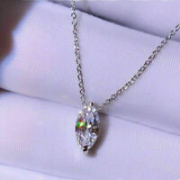 14k White Gold Finish Solitaire Pendant Necklace 1.00 Ct Marquise Cut Diamond