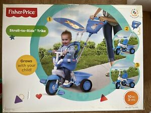 New Fisher Price Smart Trike Elite Blue Stroll To Ride Trike 10 Months-3 Years