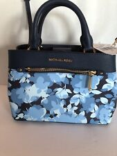 NWT MICHAEL KORS HAILEE SM FLORAL SATCHEL NAVY/WHITE Cross Body/Double Handle