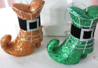 """Set of 2 Halloween Org & Green Glitter Witch Boot Ornaments 5 1/4"""" High , New"""