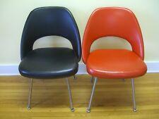 Pair Mid Century Black & Red Art-Metal / Knoll Chairs, Eero Saarinen 1970 w/tag