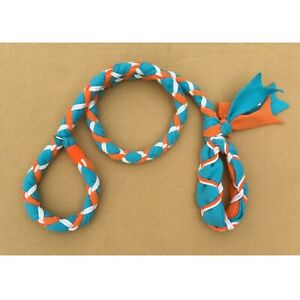 Handmade Dog Leash Fleece and Paracord Slip-Lead Teal over Orange w White