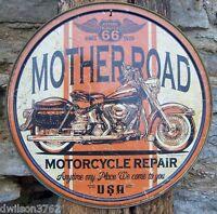 Mother Road Motorcycle Repair Tin Metal Sign Bike Harley Davidson Shop Garage