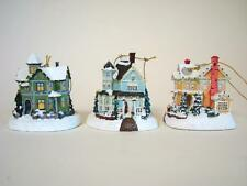 3 Thomas Kinkade Winter Memories Ornaments Victorian Illuminated Houses