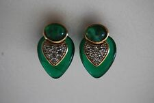 Jewels Of India Style Clip Earring Green Crystal Heart Cabochon Pave Rhinestones