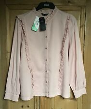 Brand New Women's Marks and Spencer Pink Button Up Ruffle Top Size 16
