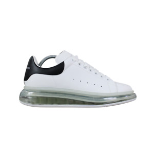 Alexander McQueen Raised Bubble Sole Leather Trainers In White & Black RRP £420