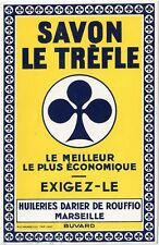 BUVARD PUBLICITAIRE // SAVON LE TREFLE // HUILERIES DARIER DE ROUFFIO MARSEILLE