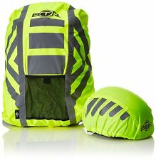BTR High Visibilty Reflective Waterproof Backpack & Helmet Cover Pack. Yellow