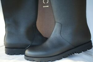New Gucci Women's Boots Rain Size 40 Knee High Black Leather