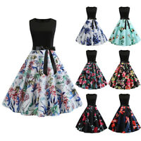 Womens Retro Floral 50s Style Vintage Floral Print Rockabilly Party Swing Dress