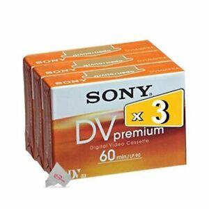 Three Pcs Sony Premium Mini DV 60 Minute Digital Video Cassette Tape DVM60PR4J
