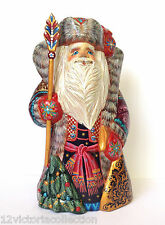 "10"" Russian SANTA with Christmas Tree Wooden Hand Carved Hand Painted SIGNED"