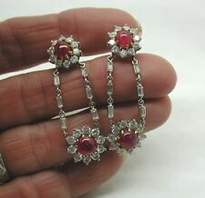 Vintage Fabulous 18ct White Gold Diamond & Ruby Drop Earrings 7.00ct. Total