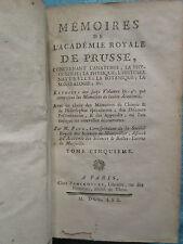 MEMOIRES ACADEMIE DE PRUSSE, 1770 : ANATOMIE, PHYSIQUE, PHYSIOLOGIE, 6 planches.