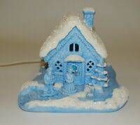Vtg 1984 Scioto Ceramic Blue Lighted Christmas Village House Santa & Mrs. Claus