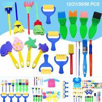 56X Kids Paint Brushes Sponge Painting Brush Tool Toy Set for Child Toddler New