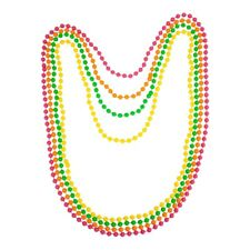 Neon Beads Necklace 80s Costume Accessory Bright Colours Fancy Dress