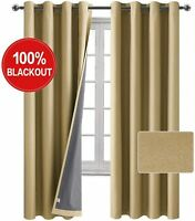 """1 Pr Beige Faux Linen Silver Grommet Blackout Thermal Insulated Curtains 52""""X84"""""""