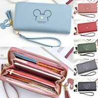 Womens Mickey Leather Large Wallet Purse Clutch Card Phone Holder Handbag Bags