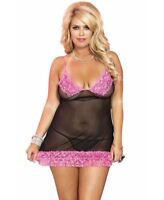 New Music Legs 56133Q Plus Size Soft Mesh Chemise With Ruffle Trim And G-String