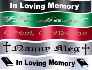 Personalised  Memorial/Funeral/Wreath Ribbon Silver Writing Centre Print
