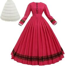 Women Victorian 1860s Dress with Petticoat