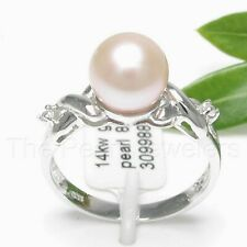 14k Solid Yellow Gold, AAA 7.8mm Natural Peach Pearl & 2 Diamonds Ring size 6.5