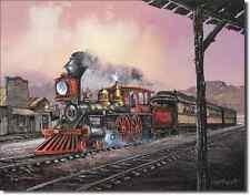 Blaylock Rollin Thru Steam Locomotive TIN SIGN old west railroad train art 1031