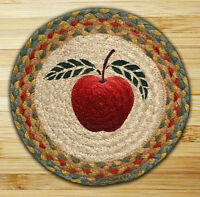 """RED APPLE 100% Natural Braided Jute Swatch, 10"""" Trivet/Placemat, by Earth Rugs"""