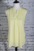 CHICO'S Size 0 (4) Blouse Sleeveless Yellow Chartreuse Tunic Small Lightweight